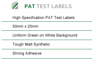 Technical spec for PAT test labels
